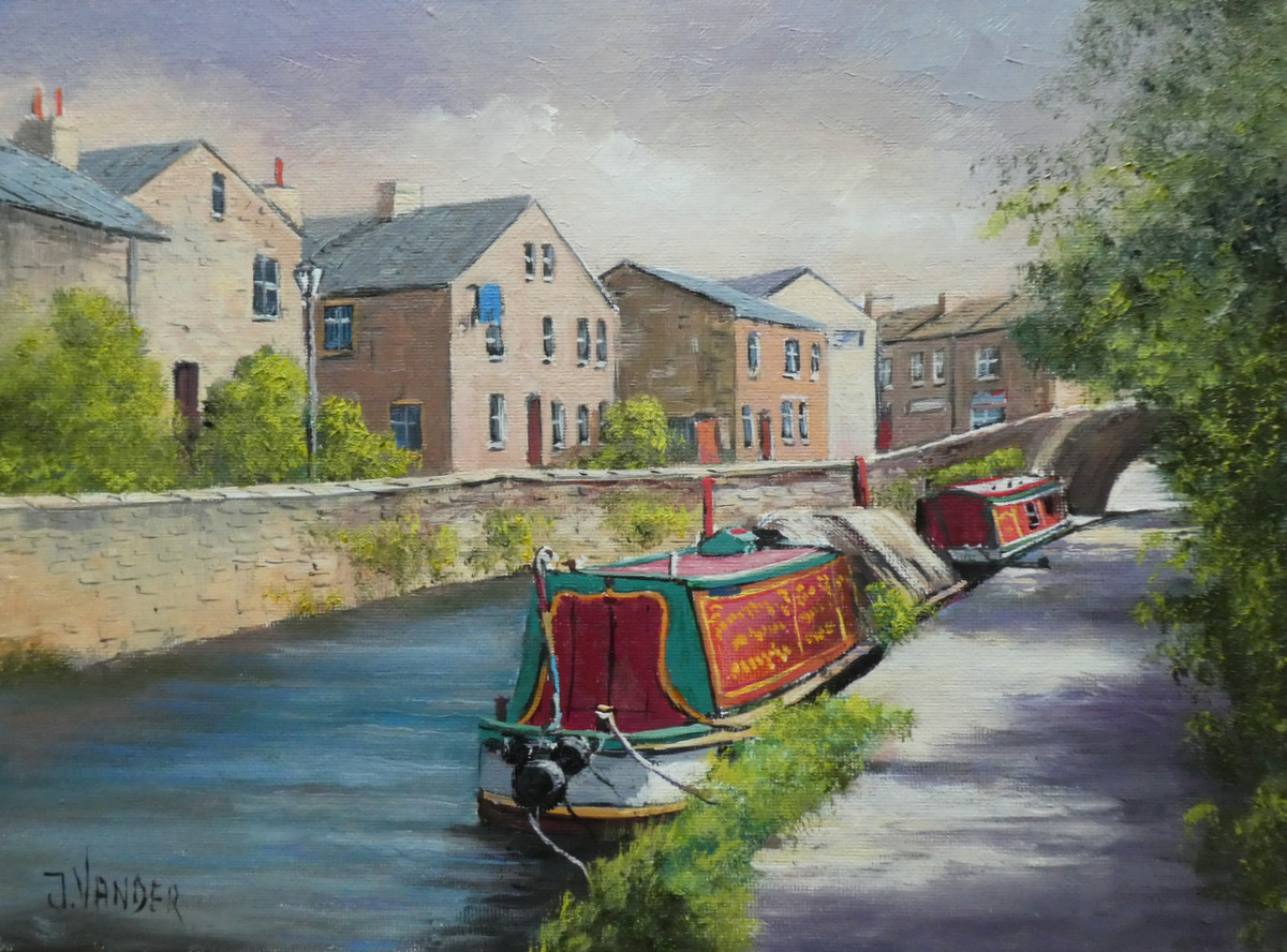 Along the Canal Skipton oil 22.9cm x 30.5cm $1950 For Sale