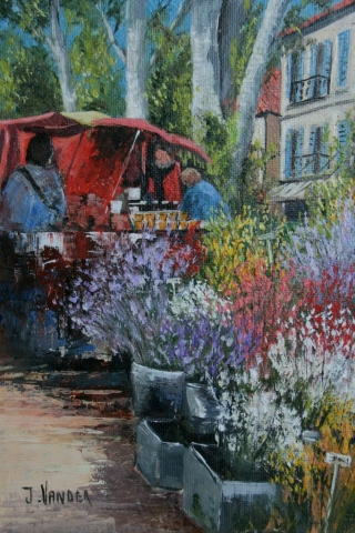 Market Day St Tropez oil 22.9cm x 15.2cm $950 For sale