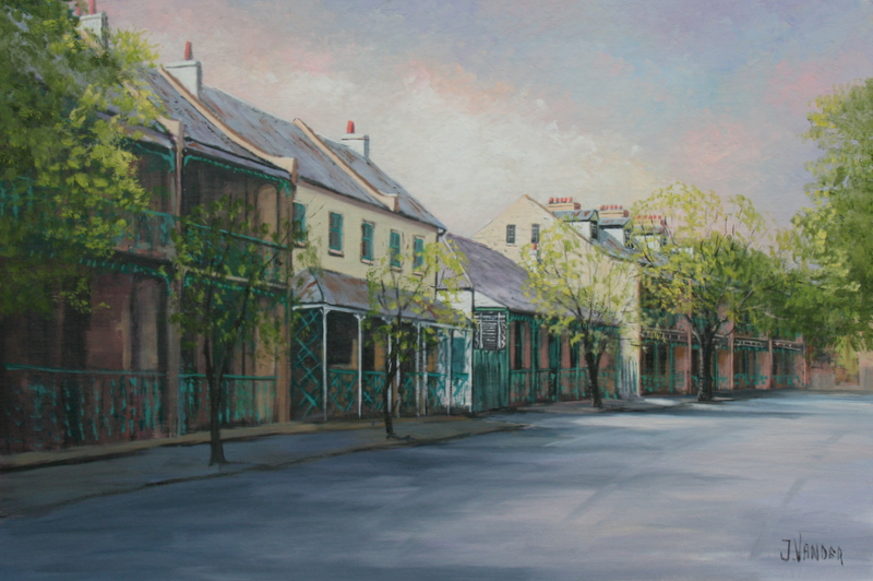 Terrace Houses of the Argyle Place oil 40.6 x 61cm $3950 For Sale